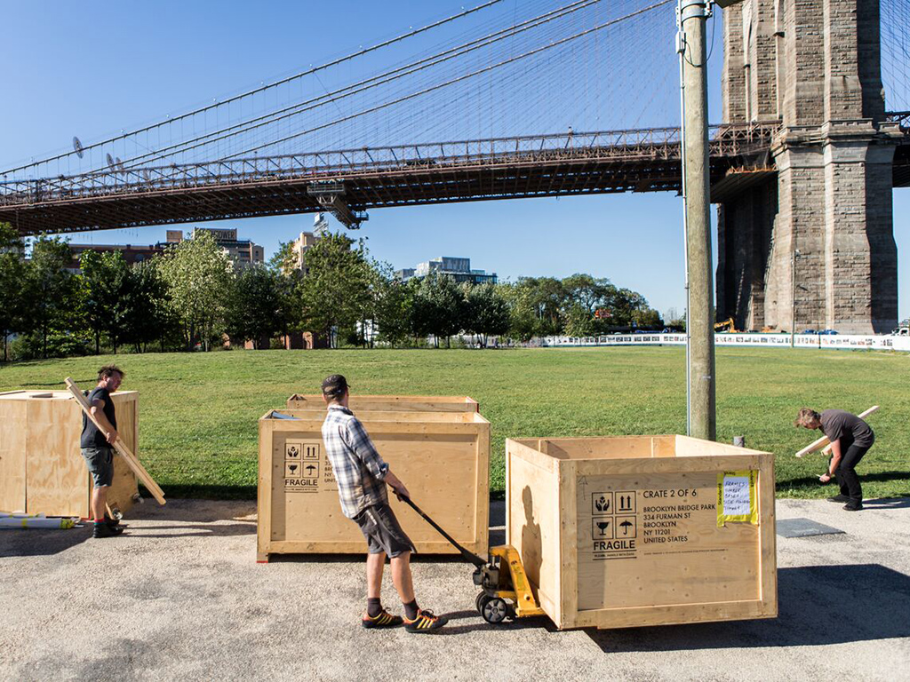 Standard8 installation team in New York moving shipping containers